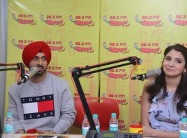 Bollywood actors Anushka Sharma and Diljit Dosanjh promote Phillauri at Radio Mirchi Studio in Mumbai.