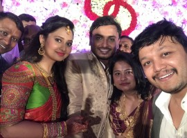 Golden star Ganesh at Amulya (Amoolya) and Jagadish engagement.