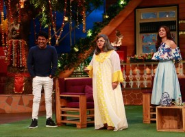 Bollywood actress Anushka Sharma promotes Phillauri on the sets of The Kapil Sharma Show in Mumbai on March 6, 2017.