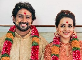 Actress Bhavan got engaged today to Kannada producer and businessman Naveen at a private function in Kochi.