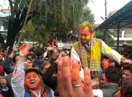 Uttarakhand elections: Holi celebrations outside BJP's office in Uttarakhand.