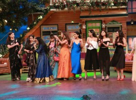 Bollywood actress Vidya Balan, Gauahar Khan and team Begum Jaan promote the film on The Kapil Sharma Show.