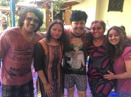 South Indian actor Upendra, Ganesh, Shilpaa Ganesh, Priyanka Upendra and Malavika Avinash celebrate Holi festival.