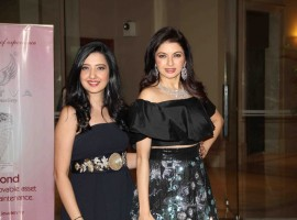 Actress Bhagyashree and fashion designer Amy Billimoria during the Mumbai Obstetrics and Gynecological Society's annual fashion show for Save the Girl Child cause in Mumbai on March 11, 2017.