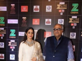 Boney Kapoor along with his wife and actor Sridevi spotted at at Zee Cine Awards 2017.