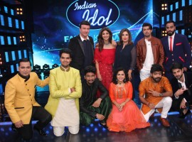 Bollywood actress Shilpa Shetty on the sets of Indian Idol season 9 with Anu Malik, Farah Khan and Sonu Nigam in Mumbai on March 14, 2017.