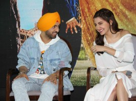 Bollywood actors Diljit Dosanjh and Anushka Sharma spotted during the press conference of the film Phillauri in Mumbai on March 15, 2017.