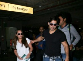 Bollywood actor Varun Dhawan and his girlfriend Natasha spotted at Airport.