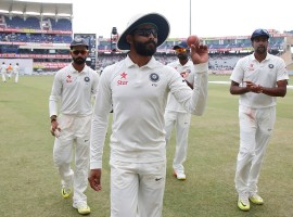 Left-arm spinner Ravindra Jadeja claimed a five-wicket haul as Australia were dismissed for 451 in their first innings on the second day of the third cricket Test against India here on Friday. Jadeja returned figures of 5/124, the eighth five-wicket haul of Jadeja's Test career and the fourth this season.