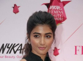 Bollywood actress Pooja Hegde spotted at Femina Beauty Awards 2017.