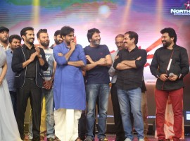 Telugu movie Katamarayudu Pre-Release event held at Hyderabad. Celebs like Pawan Kalyan, Trivikram Srinivas, Kishore Kumar Pardasani, Anup Rubens, Sharath Marar, Madhumitha, Siva Balaji, Ramajogaiah Sastry, Chaitanya Krishna, Bandla Ganesh Babu, Ajay, Dhanunjay, AM Rathnam, Manasa Himavarsh, Ali, Suma and others graced the event.