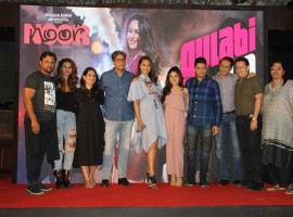 Celsbs like Sonakshi Sinha, Tulsi Kumar, Shibani Dandekar, singer Amaal Mallik, lyricist Kumaar, singers Tulsi Kumar and Yash Narvekar during the launch of song Gulabi 2.0 from film Noor, in Mumbai on March 22, 2017.