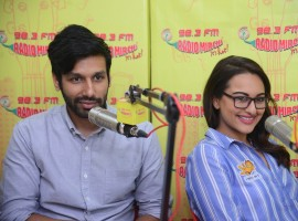 Bollywood actress Sonakshi Sinha and Kanan Gill promote film Noor at Radio Mirchi in Mumbai on March 22, 2017.