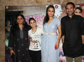 Bollywood filmmaker Ashwiny Iyer Tiwari, actors Pankaj Tripathi, Sahil Salathia, Vicky Kaushal, Deepak Dobriya, Mohammed Zeeshan Ayyub and Swara Bhaskar spotted during the screening of film Anaarkali of Aarah in Mumbai on March 23, 2017.