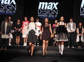 Fashion designers Nachiket Barve, Priyadarshini Rao, Varun Bahl, Vasanth Kumar, Executive Director, Max Fashion India and Fashion designer Kamakshi Kaul spotted during the grand finale of Max Design Awards 2016-17, in Mumbai on March 23, 2017.