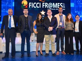 Bollywood actress Ekta Kapoor spotted during the session on Censorship Woes : M&E's Battle Against Thousand Cuts at the FICCI Frames 2017 in Mumbai on March 23, 2017.