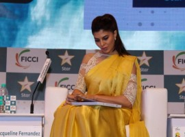 Bollywood actress Jacqueline Fernandez spotted during the session on Censorship Woes: M&E's Battle Against Thousand Cuts at the FICCI Frames 2017 in Mumbai on March 23, 2017.