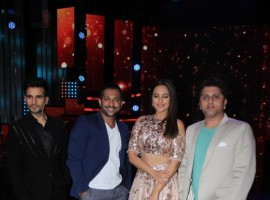 Bollywood actress Sonakshi Sinha promotes Noor on the set of Nach Baliye season 8.