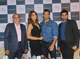 SK Malhotra, Director - Sales & Marketing of Springfit Mattresses, Bipasha Basu, Karan Singh Grover & Nitin Gupta - Executive Director, Sprigfit Mattresses at the brand's autograph collection launch.
