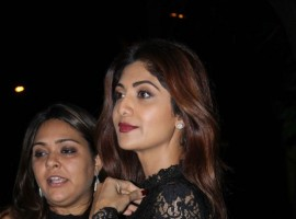 Bollywood actress Shilpa Shetty spotted in a stylish black dress at Bandra.