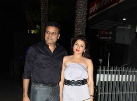 Bollywood actress Bhagyashree with her husband spotted at Bandra in Mumabi.