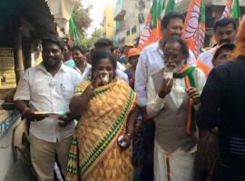 Tamil film music composer and Bhartiya Janta Party (BJP) candidate Gangai Amaran campaign at RK Nagar in Chennai on March 28, 2017. The constituency fell vacant after the death of chief minister J Jayalalithaa in December last year.