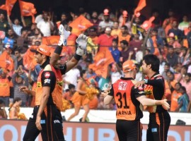 Leg-spinner Rashid Khan (3/19) and seamer Bhuvneshwar Kumar (2/21) put up impressive bowling performances to help Sunrisers Hyderabad (SRH) outplay Gujarat Lions (GL) by nine wickets and register their second consecutive win in the Indian Premier League (IPL) here on Sunday. Thanks to the heroics of 19-year-old Afghan slow bowler Rashid and India medium pacer Bhuvneshwar, the defending champions restricted Gujarat Lions (GL) to a low total of 135/7 at the Rajiv Gandhi International Stadium. The target never appeared a challenge for the hosts, who rode on pyrotechnics from captain David Warner (76 not out off 45 deliveries) and Moises Henriques (52 not out off 39 balls) to maul the inefficient and inexperienced Gujarat bowlers and give Hyderabad an easy victory with 4.3 overs to spare.