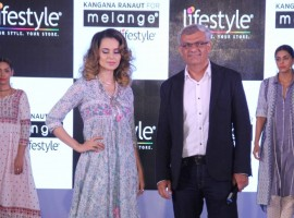 Bollywood actress Kangana Ranaut launches the latest Melange collection by Lifestyle, in Mumbai on April 11, 2017.