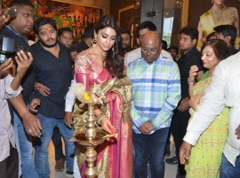 South Indian actress Shriya Saran launches VRK Silks at Himayat Nagar.