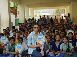 South Indian actress Rakul Preet Singh volunteers with Teach for Change.