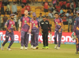 Rising Pune Supergiant (RPS) ended their three-match losing run as they defeated Royal Challengers Bangalore (RCB) by 27 runs in an Indian Premier League (IPL) game at the Chinnaswamy stadium here on Sunday. Asked to bat, Pune suffered a late batting collapse but managed to post a competitive total of 161 for eight in 20 overs. In reply, RCB put up an below-par show, being restricted to 134/9, as they suffered their hat-trick of losses. For Pune, Rahul Tripathi (31) and Ajinkya Rahane (30) provided a 63-run opening stand and a 58-run third-wicket stand between captain Steven Smith (27) and Mahendra Singh Dhoni (28) led to expectations that they would score around 175. But Dhoni and Smith fell off successive deliveries starting from the final ball of the 16th over. They lost three more wickets within three runs. But Manoj Tiwary's quickfire 27 off 11 deliveries helped them get past 161.