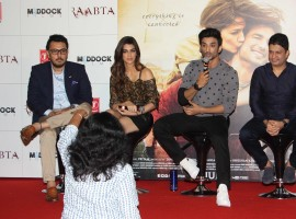 Bollywood Actors Sushant Singh Rajput and Kriti Sanon during the Trailer launch of film Raabta in Mumbai on April 16, 2017.