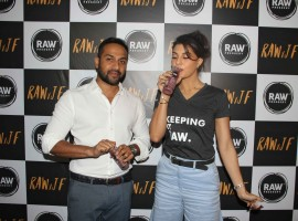 Anuj Rakyan, Raw Pressery and Bollywood actor Jacqueline Fernandez during the launch of Raw Pressery juice brand in Mumbai.