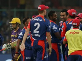 Kolkata Knight Riders (KKR) rode on a brilliant batting effort from Manish Pandey and Yusuf Pathan to beat Delhi Daredevils by four wickets in a thrilling Indian Premier League (IPL) 2017 match at the Feroz Shah Kotla here on Monday. Pandey, who remained unbeaten on 69 off 49 balls rescued the visitors with a brilliant 110-run fourth wicket stand with Pathan (59) to turn the tide in favour of the visitors after a dreadful start in pursuit of Delhi's 168/7 in 20 overs. Needing nine from the last over, Mishra got Chris Woakes stumped off his second delivery but couldn't prevent Pandey from hitting him for a six off the fourth ball and then leaked two runs off the next to lose the tie.