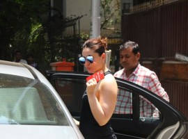 Bollywood actress Kareena Kapoor spotted at yoga classes in Khar.