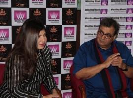 Filmmaker Subhash Ghai and Singer Alka Yagnik at Whistling Woods International Institute in Mumbai on April 19, 2017.
