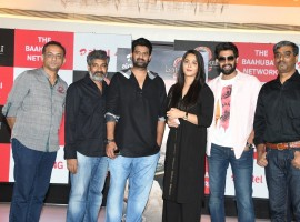 Celebs like Prabhas, Rana Daggubati, Anushka Shetty and SS Rajamouli at Baahubali 2 sims launch.