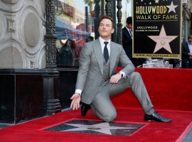 Actor Chris Pratt poses during a ceremony honoring him with a star on the Hollywood Walk of Fame in Hollywood, California.