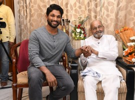 South Indian actor Allu Arjun meets K Viswanath.