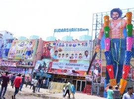 Prabhas' Baahubali 2 Hungama at RTC X Roads in Hyderabad.