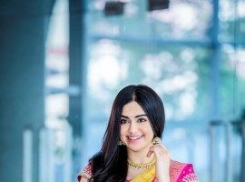 South Indian actor Adah Sharma photoshoot for Niketan saree.