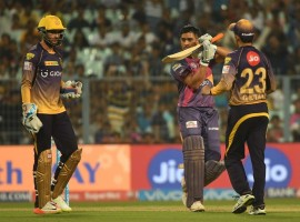 Rising Pune Supergiant rode on little-known Rahul Tripathi's career-best 93 of 52 balls to win, by four wickets, an Indian Premier League (IPL) engagement against Kolkata Knight Riders (KKR) at the Eden Gardens on Wednesday and take giant strides towards the playoffs. Pune, now on 14 points from 11 games, moved to third spot with KKR staying on second with the same number of points as Pune from 11 outings. Replying to KKR's 155/8, Pune scored 158/6 in 19.2 overs. Tripathi, who is playing his first IPL, brought up his fifty in just 23 deliveries with eight fours and three sixes. The Maharashtra batsman went from strength to strength after his half-century spanking chinaman Kuleep Yadav for three sixes on the trot in the 13th over. Chris Woakes fared best among the bowlers for the hosts (3/18) taking the wickets of Pune and Australia skipper Steve Smith (9) and in-form Manoj Tiwary (8) off two excellent deliveries.