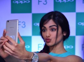 South Indian actress Adah Sharma spotted at Oppo F3 mobile launch.
