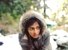 South Indian actress Amala Paul enjoying snow in the Himalayas.