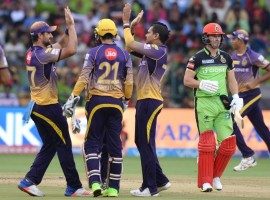 Chris Lynn and Sunil Narine's big hitting helped Kolkata Knight Riders (KKR) sweep aside out-of-sorts Royal Challengers Bangalore (RCB) by six wickets in a rain-interrupted Indian Premier League (IPL) match at the M. Chinnaswamy Stadium here on Sunday. It was a surprise when Narine came out to open the batting with the fit-again Lynn instead of in-form skipper Gautam Gambhir but the West Indian who has been doing the job at the top of the order for KKR this season vindicated the team management's faith in him. Pursuing RCB's 158/4, KKR romped home with 159/4 in 15.1 overs riding on a 105-run stand by Narine (54; 17b 6x4 4x6) and Lynn (50; 22b 5x4 4x6) in just 6.1 overs at a run rate of 17.02. Narine registered the fastest half-century in the IPL, reaching the 50-run-mark in just 15 balls. KKR are now second in the points table with 16 points from 12 outings. They play Kings XI Punjab in Mohali before ending the league engagements at home against already-qualified Mumbai Indians.