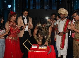Television actor Karan Tacker during his birthday celebration on the sets of Star Plus TV show Nach Baliye Season 8 in Mumbai on May 9, 2017.