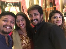 Amulya and Jagadish's sangeet and mehendi ceremonies held in Bangalore on Wednesday, May 10. Celebs like Golden Star Ganesh, Prem, Sharan, Suguna, Karunya, Sudha Rani and others graced the event.