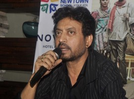 Bollywood actor Irrfan Khan addresses a press conference to promote his film upcoming