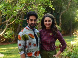 Bollywood actor Ayushman Khuranna and actress Parineeti Chopra promote Meri Pyari Bindu at Yashraj studio.