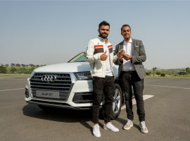 Audi, the German luxury car manufacturer, today, welcomed the Captain of the Indian national cricket team Virat Kohli into the Audi Q family by adding another 'quattro' muscle into his fleet; Mr. Rahil Ansari, Head, Audi India handed over the keys of the SUV icon Audi Q7 45 TDI in Carerra White colour to the National Cricket icon Virat Kohli.